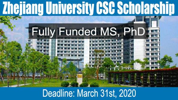 Zhejiang University CSC Scholarship In China 2020 (Fully Funded)