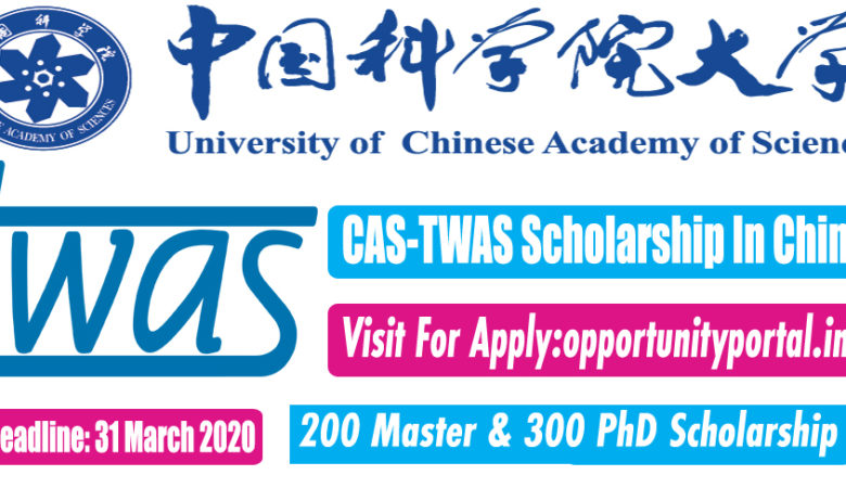 CAS TWAS Scholarship In China For MS, Ph.D. (Fully Funded)