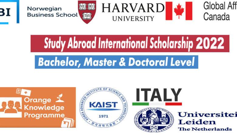 List of 9 Study Abroad International Scholarship 2022 (BS, MS, PhD)